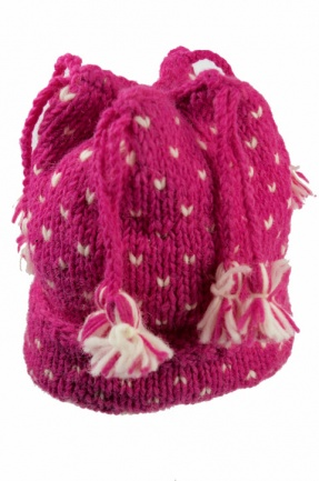 Fuchsia Pink Knitted Tassle Hat with White Hearts