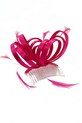 Fuchsia Pink Satin Loop & Feather Comb Fascinator