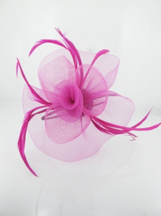 Fuchsia Pink Crinoline Flower and Feather Hairband Fascinator