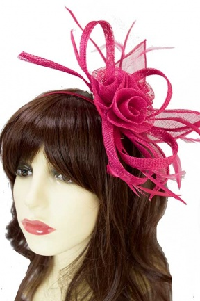 Pretty Fuchsia Pink Sinamay Loop Fascinator