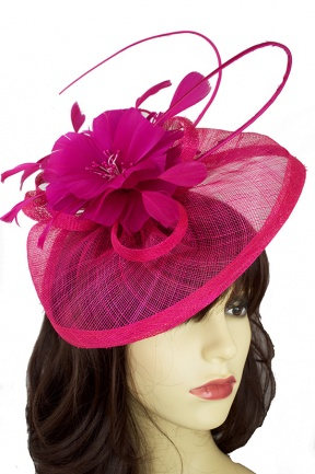 Fuchsia Pink Hat Fascinator with Quill & Flower