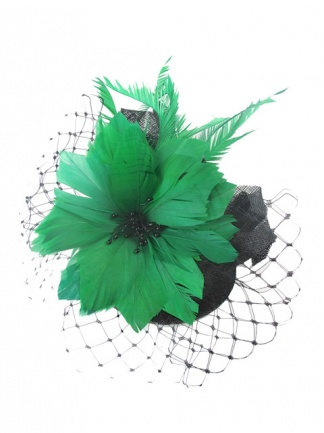 Green & Black Feather Flower Fascinator