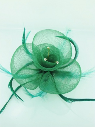 Green Crinoline Fascinator with Feathers and Crystals