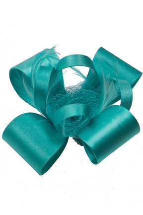 Emerald Green Satin Bow & Feather Clip Fascinator