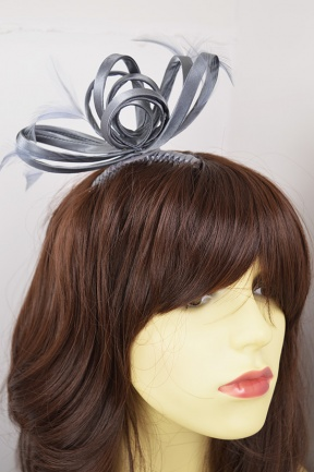 Grey Looped & Feather Comb Fascinator