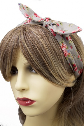 Pretty Grey & Floral Print Elasticated Fabric Headband