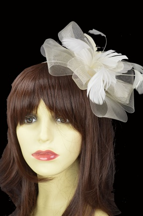 Ivory Crinoline Bow & Feather Flower Fascinator