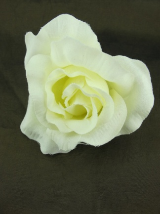 Ivory Fabric Rose Hair Flower Clip