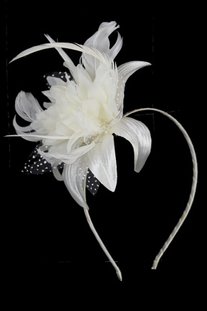 Ivory Flower and Feather Hairband Fascinator