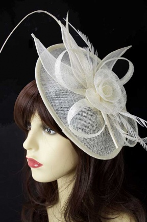 Ivory Hat Fascinator with Quill and Hairband