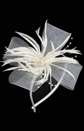 Ivory Mesh Bow & Feather Aliceband Fascinator