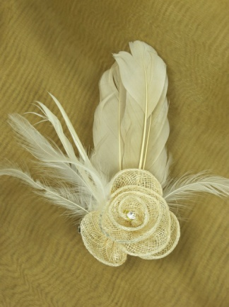 Cream Sinamay Flower Fascinator with Feathers