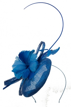Kingfisher Blue Hat Fascinator with Quill & Hairband