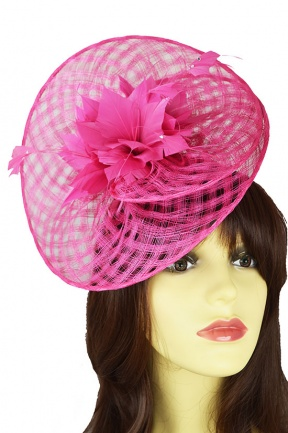 Pink Large Criss-Cross Hat Fascinator with Hairband