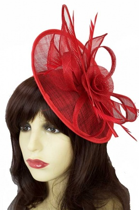 Large Red Hat Fascinator with Hairband