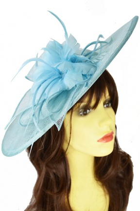 Large Light Blue Saucer Hat with Hairband
