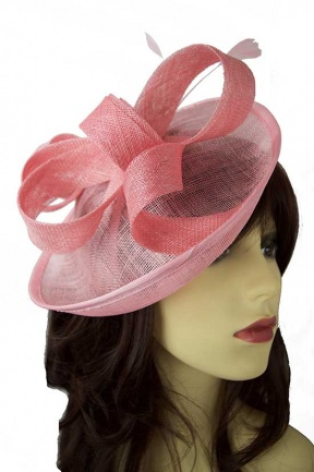 Light Pink Saucer Hat with Hairband, Bow & Feathers