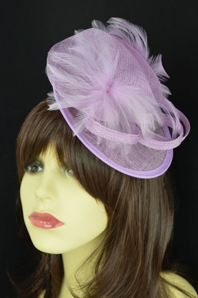 Small Lilac Hat Fascinator with Hairband & Clip