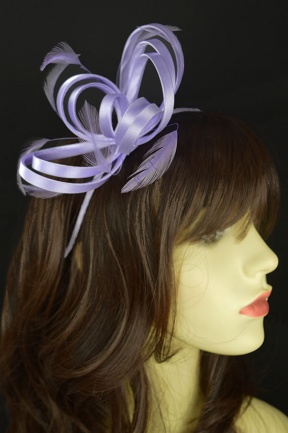 Pretty Lilac Satin Loop & Feather Hairband Fascinator