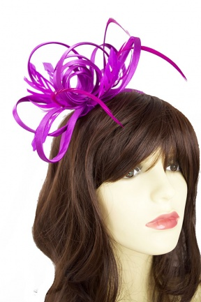 Satin Ribbon Loop & Feather Hairband Fascinator in Magenta