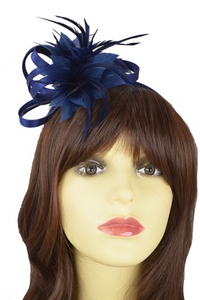 Navy Blue Satin Loop & Flower Hairband Fascinator