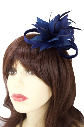 Navy Blue Satin Loop & Feather Flower Comb Fascinator
