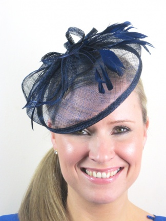 Navy Blue Sinamay Hairband Hat  Fascinator