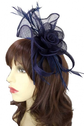 Navy Blue Large Sinamay Hairband & Clip Fascinator