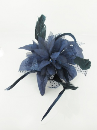 Navy Blue Flower and Feather Comb Fascinator