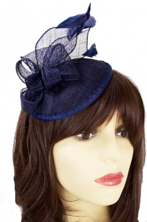Navy Blue Small Saucer Hat with Hairband & Feathers