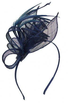 Navy Blue SInamay & Feather  Aliceband Fascinator