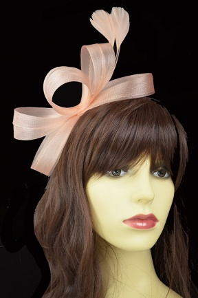 Nude/Peach Crinoline Bow Hairband Fascinator