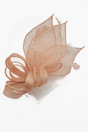 Nude Sinamay Bow & Feather Comb Fascinator