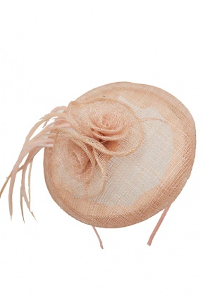 Nude Sinamay & Feather Hat Fascinator with Aliceband