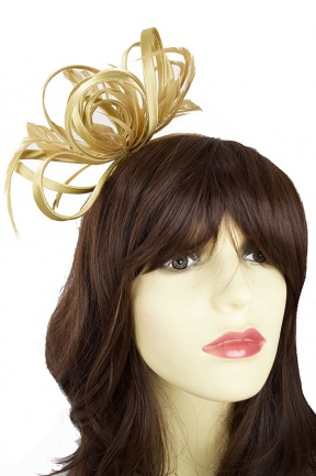 Old Gold Satin Loop Hairband Fascinator