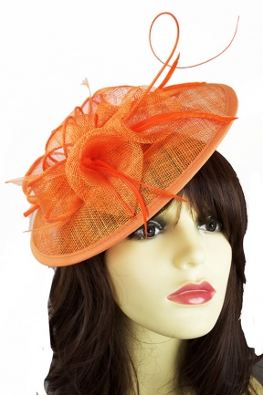 Orange Saucer Hairband Hat with Quill & Clip