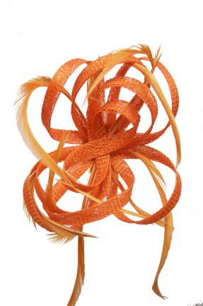 Orange Loop & Feather Clip Fascinator
