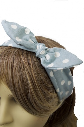 Pale Blue & Polka Dot Bow Fabric Hairband