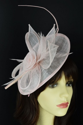 Pale Nude Pink Hat Fascinator with Quill & Hairband
