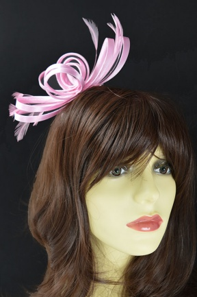 Pale Pink Satin Loop & Feather Comb Fascinator