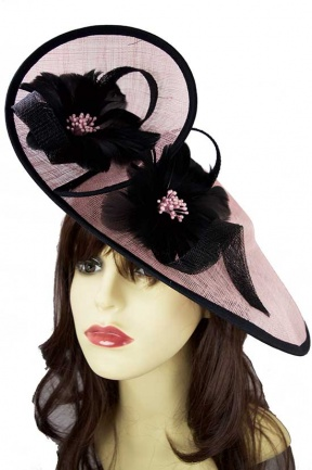 Pale Pink & Black Large Hat Fascinator
