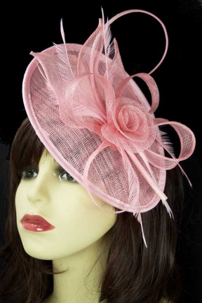 Pale Pink Hat Fascinator with Hairband & Clip