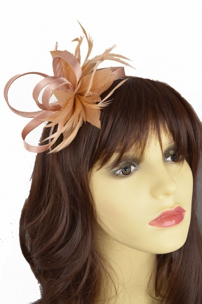 Nude/Peach Satin Loop & Feather Hairband Fascinator