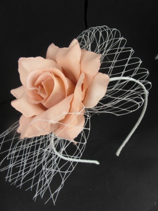 Peach Rose Hairband with Netting