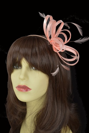 Peach Satin Loop Hairband Fascinator