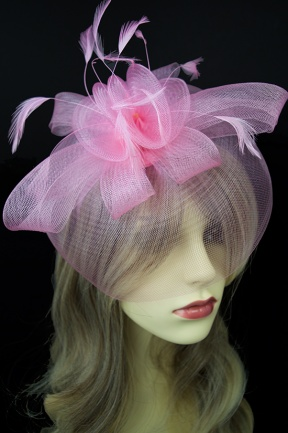 Pink Crinoline Veil Hairband Fascinator