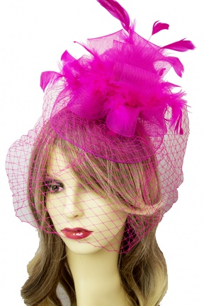 Large Pink Hairband Fascinator with Birdcage Veil
