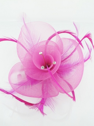 Pink Crinoline Clip Fascinators