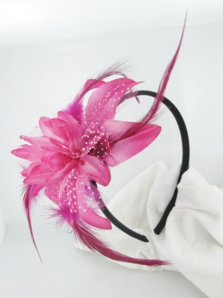 Pink Flower and Feather Hairband Fascinator