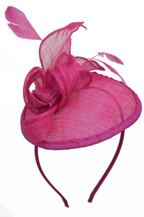 Pink Small Saucer Hat Fascinator with Bow & Feathers